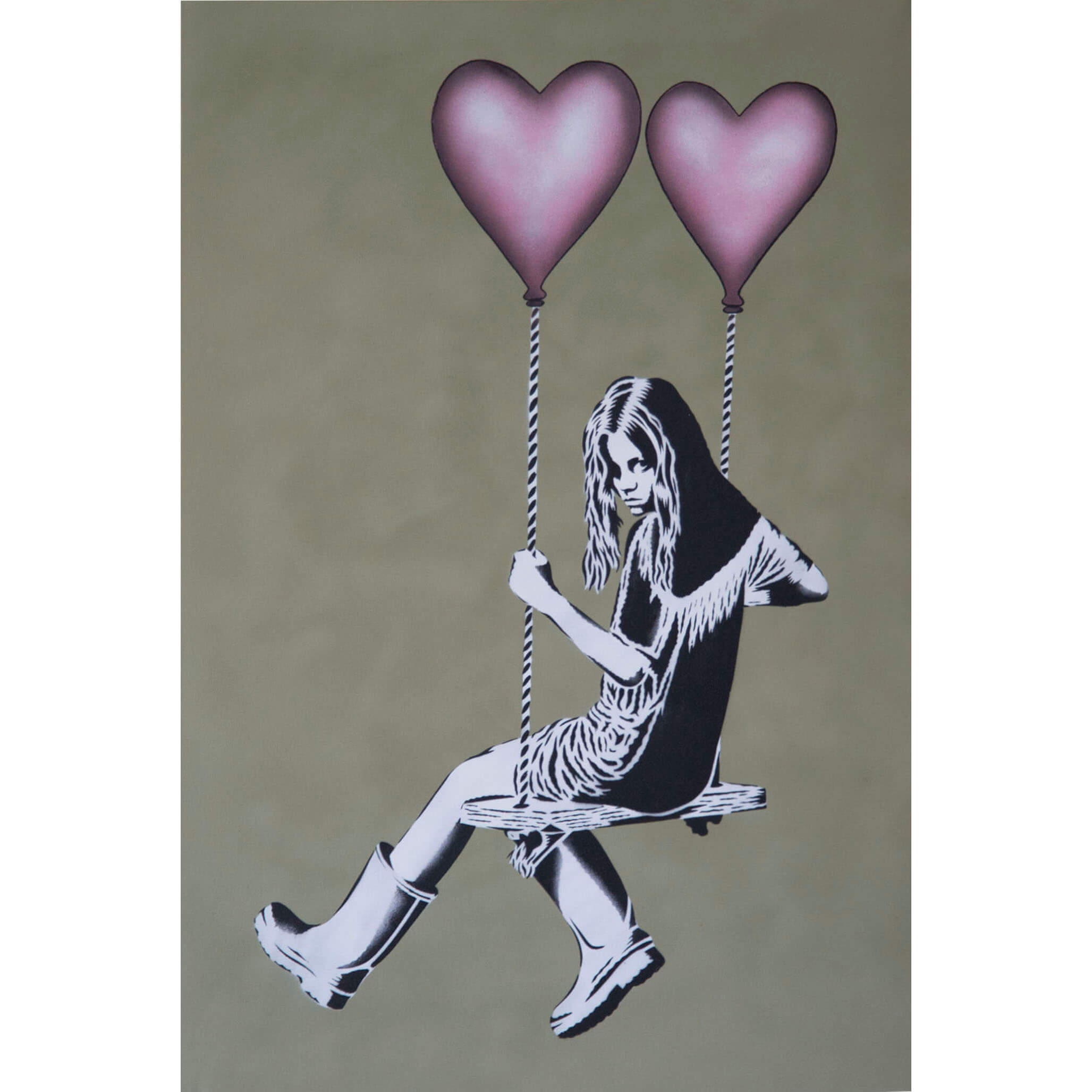 JPS - Balloon Girl Pink Balloons Thai Green Canvas 1/1