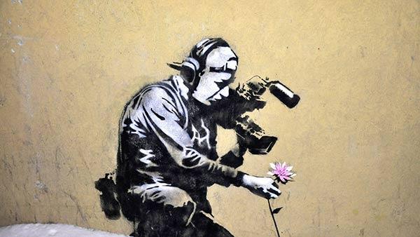 Wall Art Graffiti Art Art poster Street art Flower Thrower Graffiti Canvas Banksy style canvas Multi Panel Canvas Canvas Extra Large