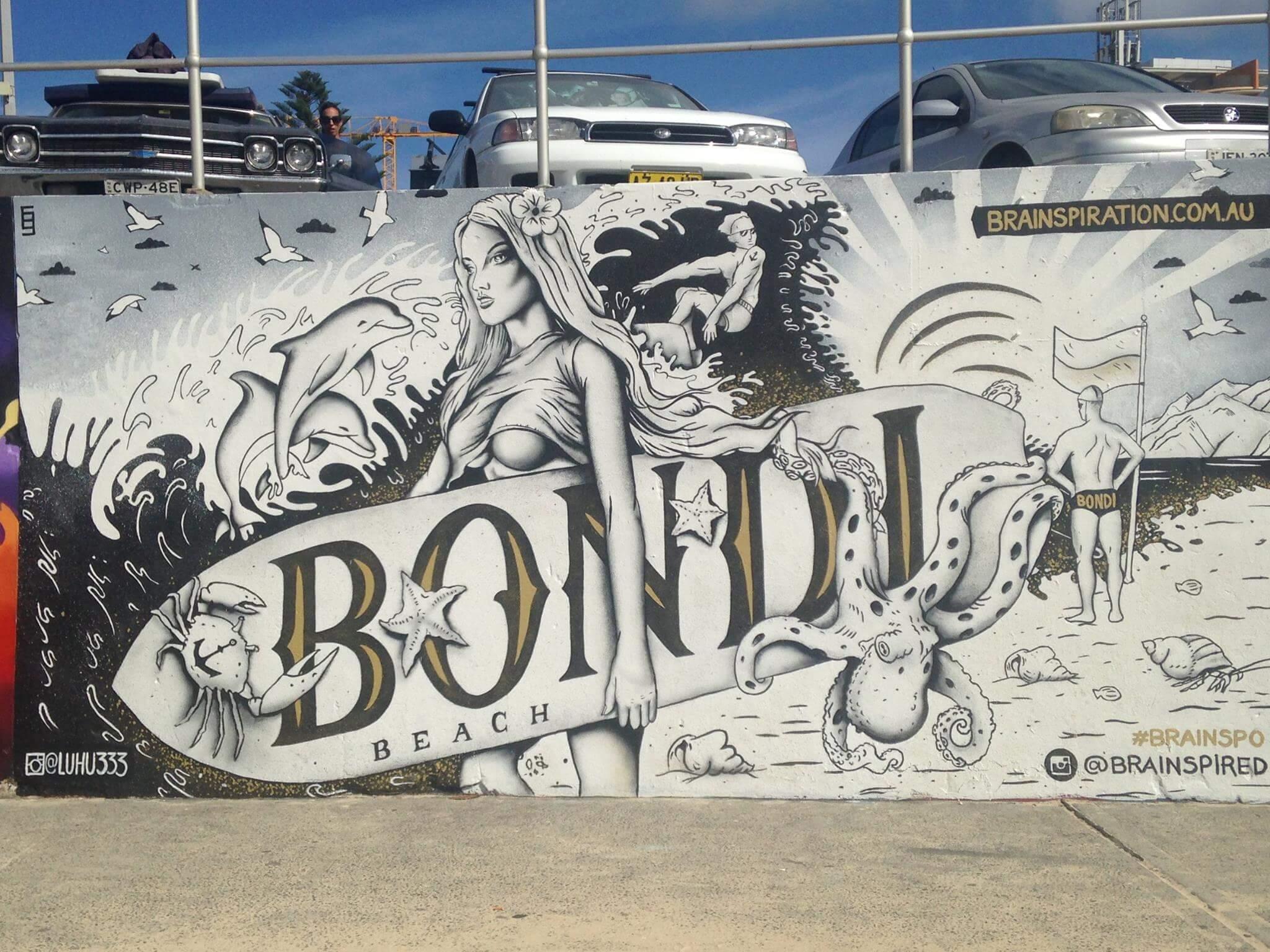 Bondi beach street art australia 2016