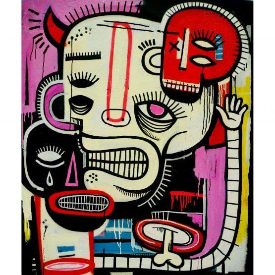 Joachim - Black, White, Red Canvas