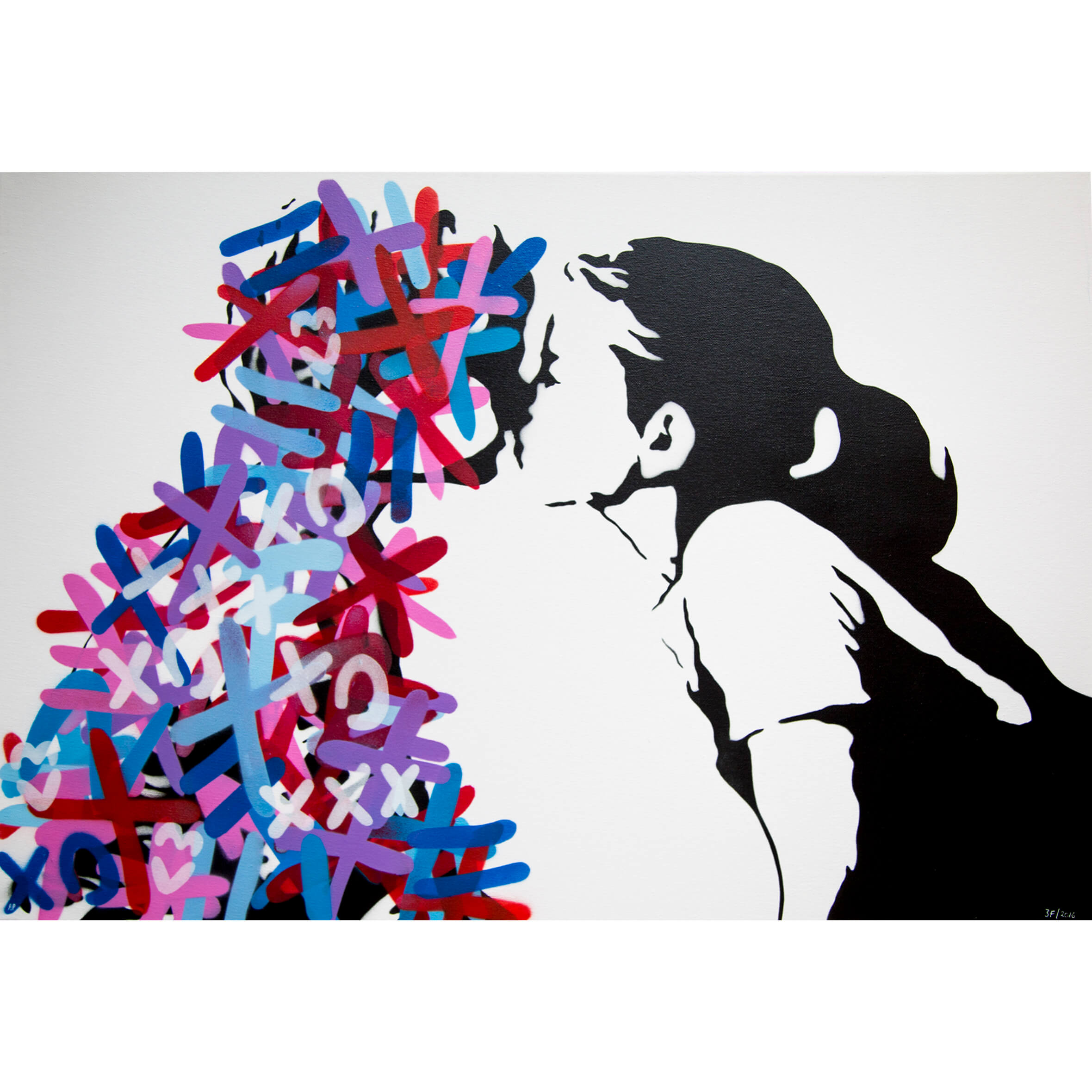 3Fountains - The Kiss (Red & Blue edition) AP Canvas