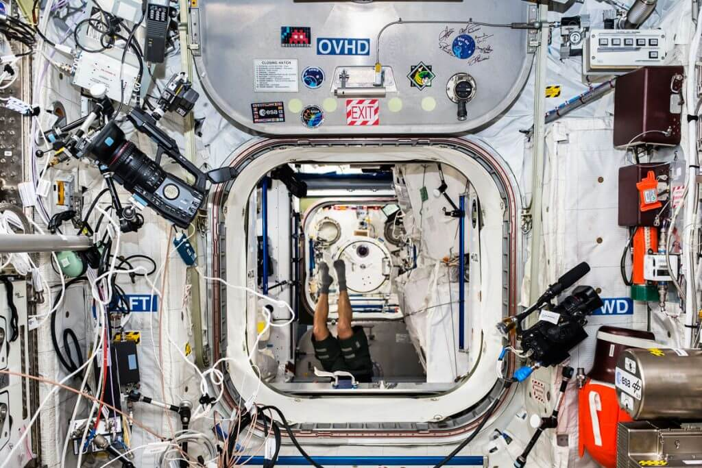 SPACE2 in the Columbus module of the ISS : Photo - ESA:NASA space invader