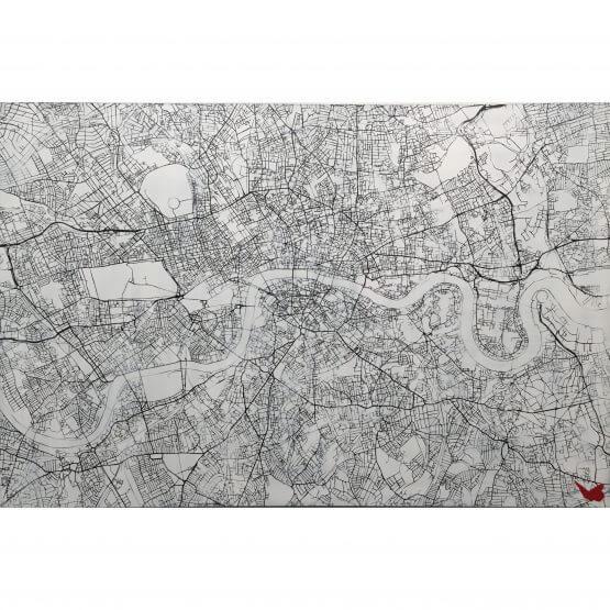 Nils Westergard - London Map Handsprayed on wood