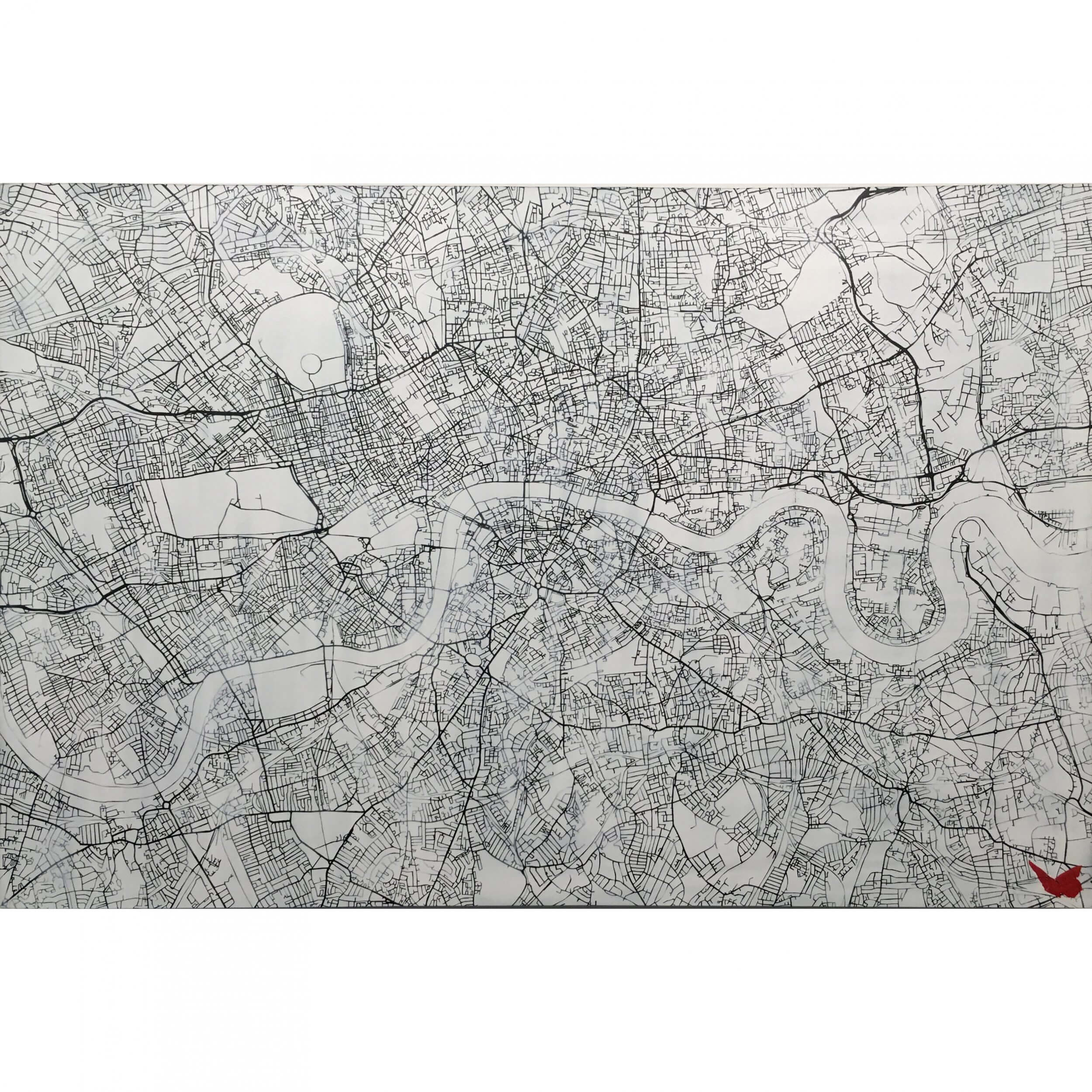 Nils Westergard - London Map Handsprayed on wood