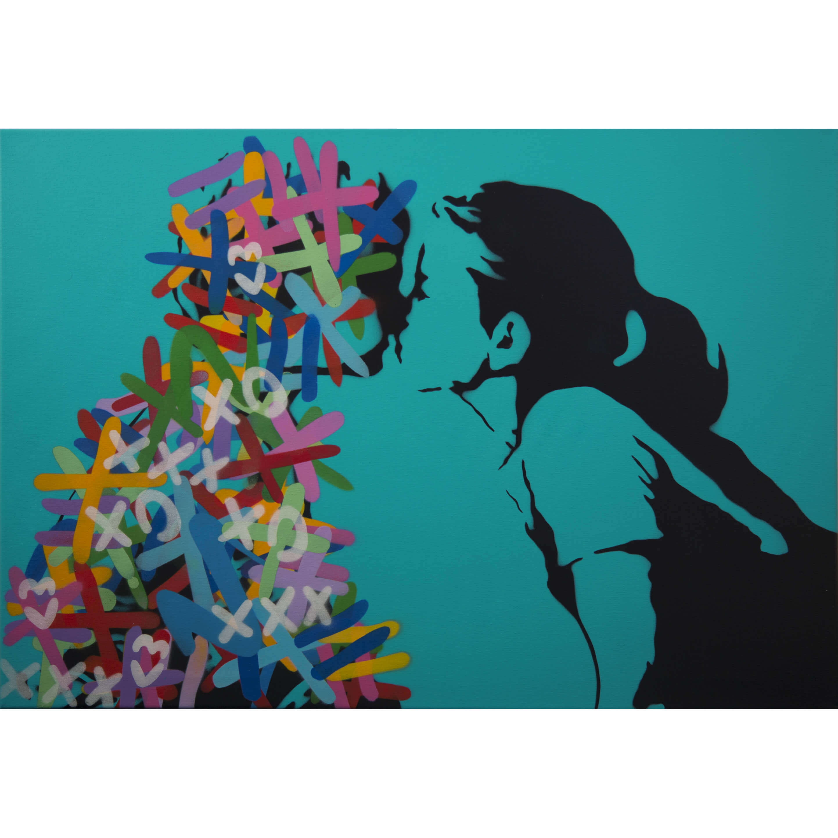 3F - The Kiss (Cyan Edition) Canvas