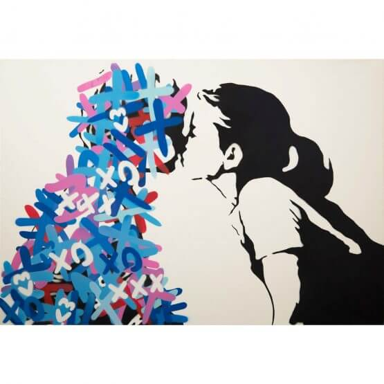 3F - The Kiss (Blue & Red Edition) Canvas