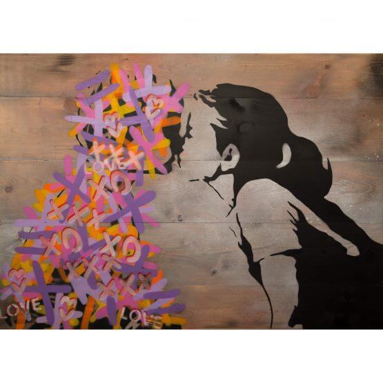 3F - The Kiss on wood (Pink & Purple) 1/1