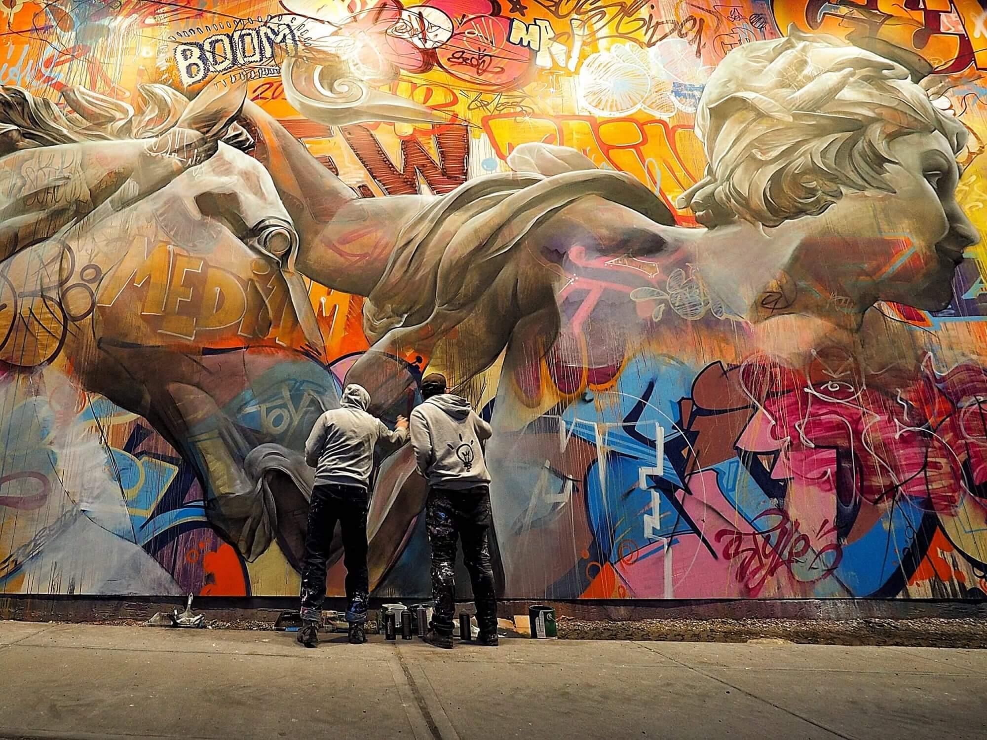 Incredible new mural by pichiavo on the iconic houston bowery graffiti wall new york 2017 graffitistreet com news