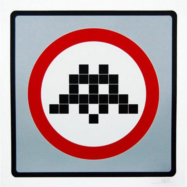Space Invader - Warning (Silver) Print
