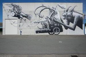 Phlegm, The Crystal Ship Street art Festival, Ostend Belgium 2017 Photo Credit Ian Cox