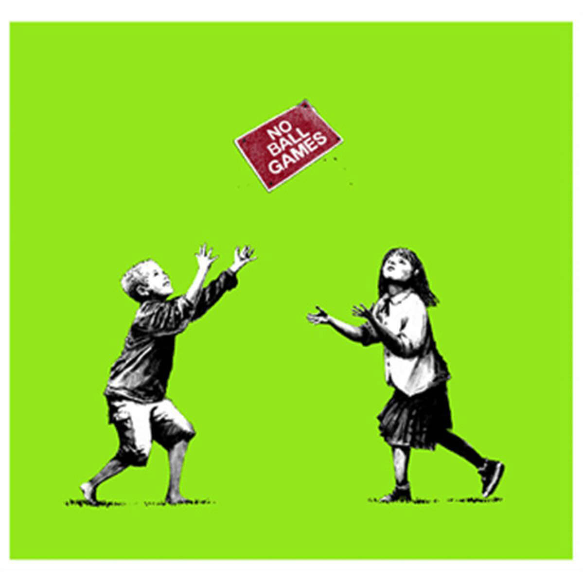 Banksy - No Ball Games (Green) Print (Signed)