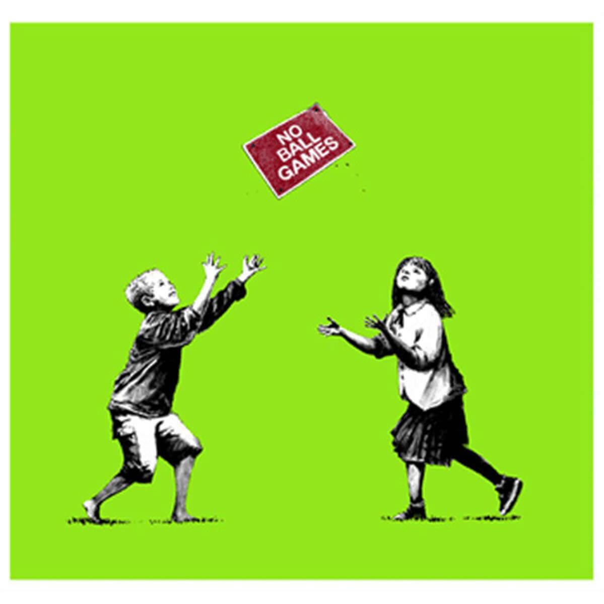 Banksy - No Ball Games (Green) Print (Signed)