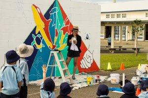 Alyssa Irizarry, Seawalls: Artists for Oceans, Napier, NZ. Photo Credit Olivia Laita