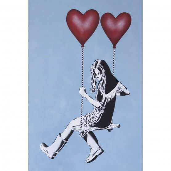 JPS - Balloon Girl Red Balloons Sky Blue Canvas 1/1