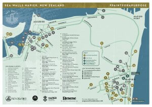 Pangeaseed Seawalls: Artists for Oceans, Napier street art Map 2017