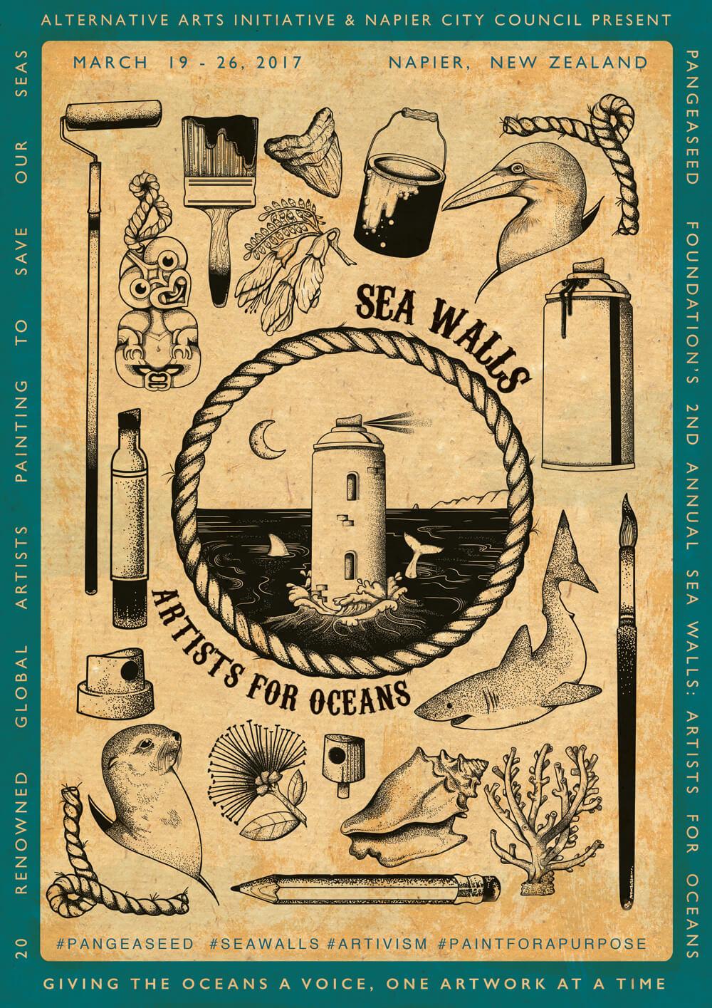 Sea Walls: Artist for Oceans, Napier, New Zealand 2017 ...