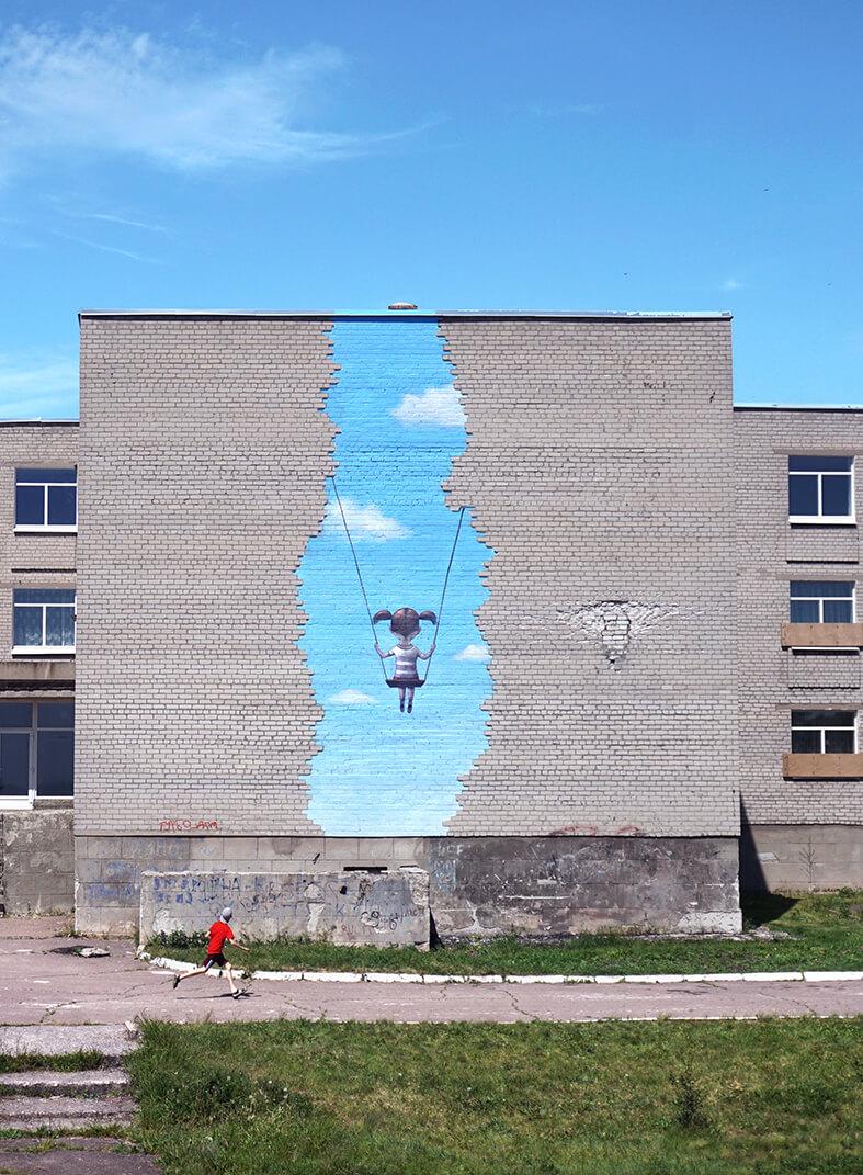Street Artist Seth Globepainter goes Back to School! Ukraine, 2017