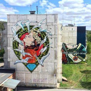 Diamond and Solo, Satka Street Art Festival, Russia 2017. Photo Credit Satka Street Art Festival / Fund Sobranie