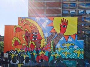 Ricardo Cavolo, Mural International Public Street Art Festival, Montreal, Canada 2017. Photo credit Davi Tohinnou.