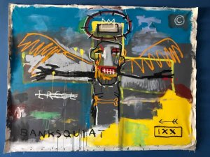 Banksy + Basquiat = Banksquiat, The Walled Off Hotel, Bethlehem 2017.