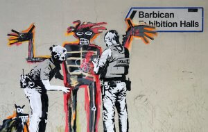Banksy Basquiat Tribute, Barbican centre, london. Photo credit Banksy 2017