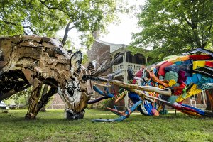Bordalo ii, Green Candy Urban Art, Fayetteville, Arkansas 2017. Photo Credit JustKids