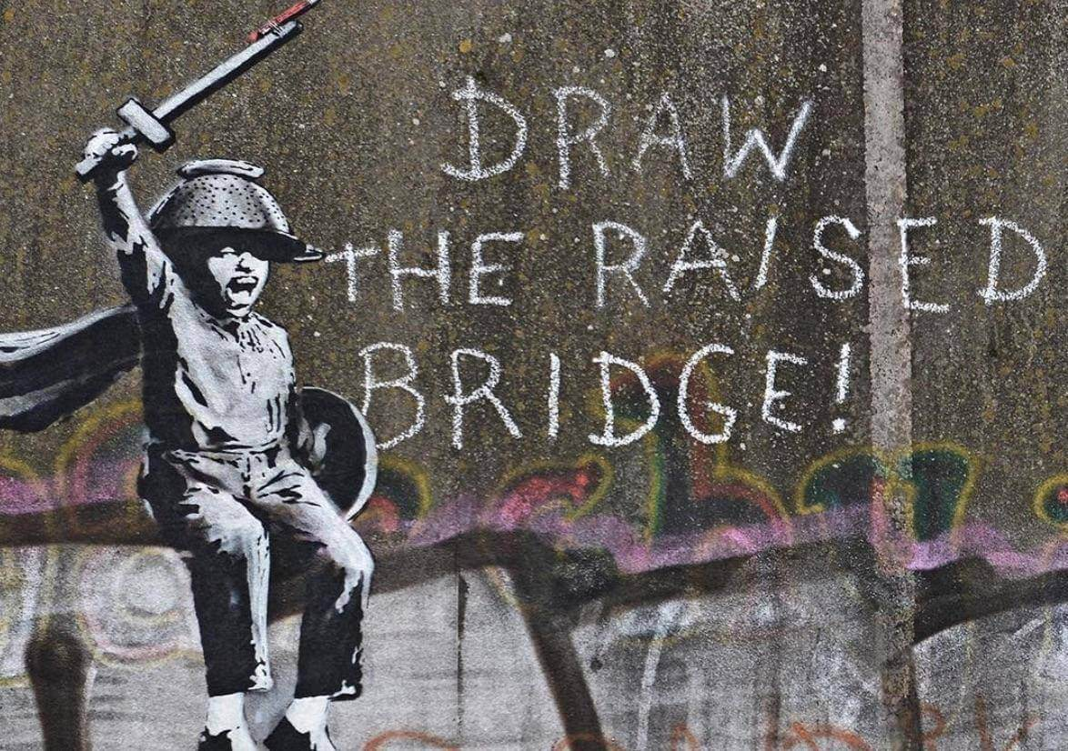 Banksys latest mural draw the raised bridge questions freedom hull 2018