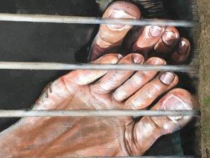 """Herakut, Street art Mural """"Your Stories make me forget those Prison Bars"""", Aalborg, Denmark 2018. Photo Credit Lene Kirk"""