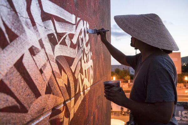 "Said Dokins, Street Art Mural ""Hope"" for Bloop Festival 2018. Photo Credit Leonardo Luna"