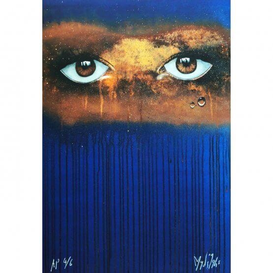 My Dog Sighs - Blue/Gold Rust Print (A/P)