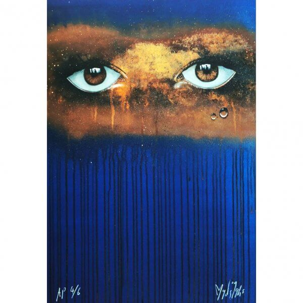 My Dog Sighs - Blue/Gold Rust Print (A/P)
