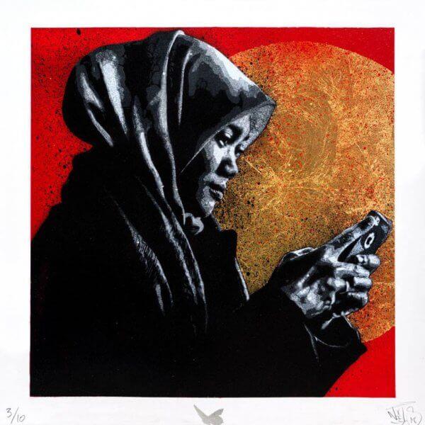 Nils Westergard - Girl With Phone (handsprayed on paper)