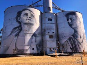 Julia Volchkova, Wimmera-Mallee Trail Silo Art Trail -Rupanyup is the sixth silo in the Australian Silo Art Trail. Photo Credit Annette Green.