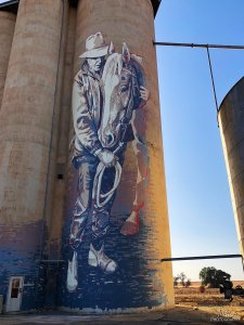 Kaff-eine, The (Wimmera-Mallee) Silo Art Trail -Rosebery was completed in late 2017. Photo Credit Annette Green