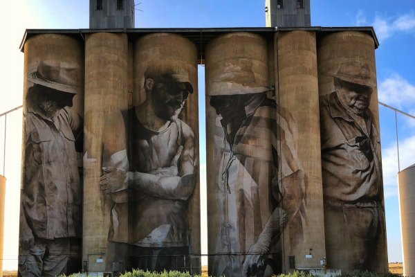 Guido Van Helten, The (Wimmera-Mallee) Silo Art Trail -Brim was completed in late 2015. Photo Credit Annette Green