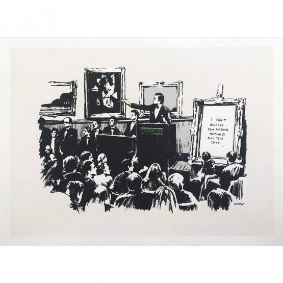 Banksy - Morons White Edition Print (Signed)