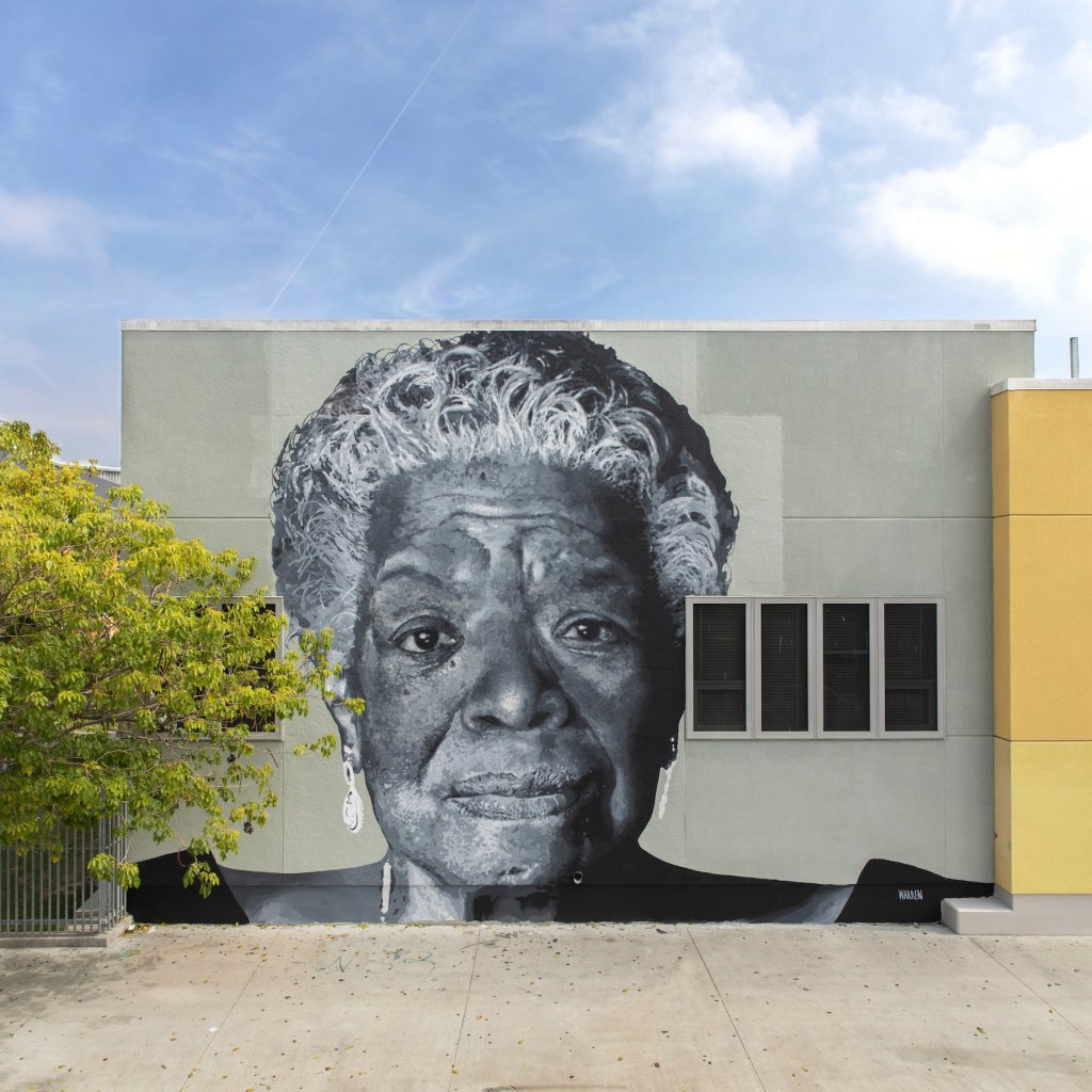 Shawm Michael, Maya Angelou Mural Festival, Los Angeles 2019. Photo Credit Static Medium