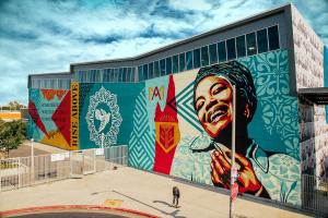 Shepard Fairey, Maya Angelou Mural Festival, Los Angeles 2019. Photo Credit Jon Furlong