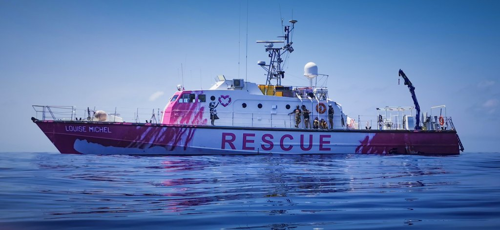 Banksy's rescue boat'MV Louise Michel' saving lives of refugees in the Mediterranean. Photo courtesy of Louise Michel 2020