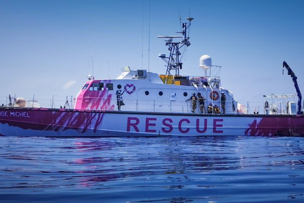 Banksy's rescue boat 'MV Louise Michel' saving lives of refugees in the Mediterranean. Photo courtesy of Louise Michel 2020